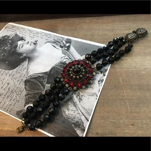 Jewelry - Victorian Style Black and Red Glass Bead Bracelet